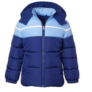 Navy & Blue Color Block Heavy Puffer Coat Boys 2T
